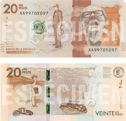 anverso y reverso billete 20 mil perso colombianos