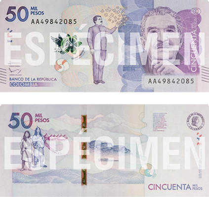 anverso y reverso billete 50 mil perso colombianos