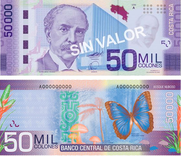 anverso reverso billete 50.000 colones Costa Rica