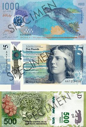 billetes maldivas escocesas argentinos